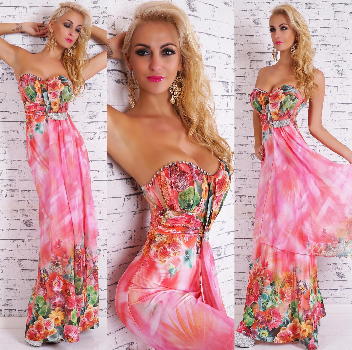 Dámské dlouhé letní šaty bez ramínek - růžové - vel. L/XL