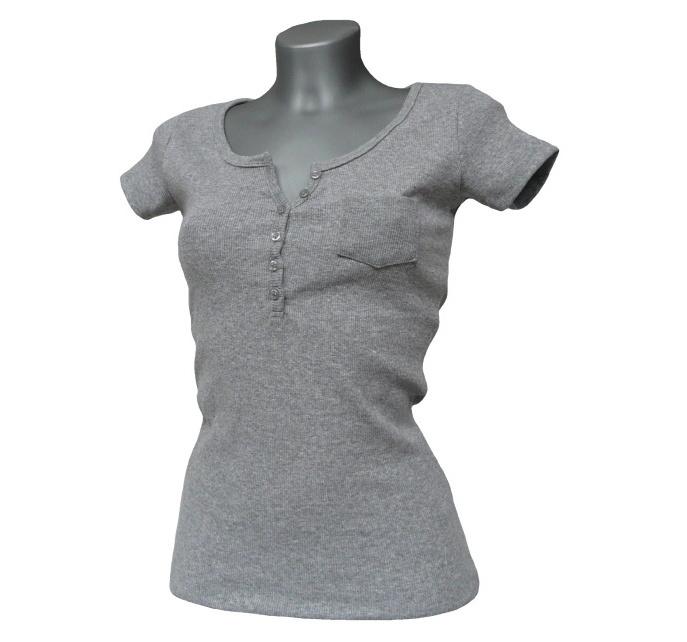Dámské triko s krátkým rukávem a knoflíčky MADONNA - šedé - vel. L