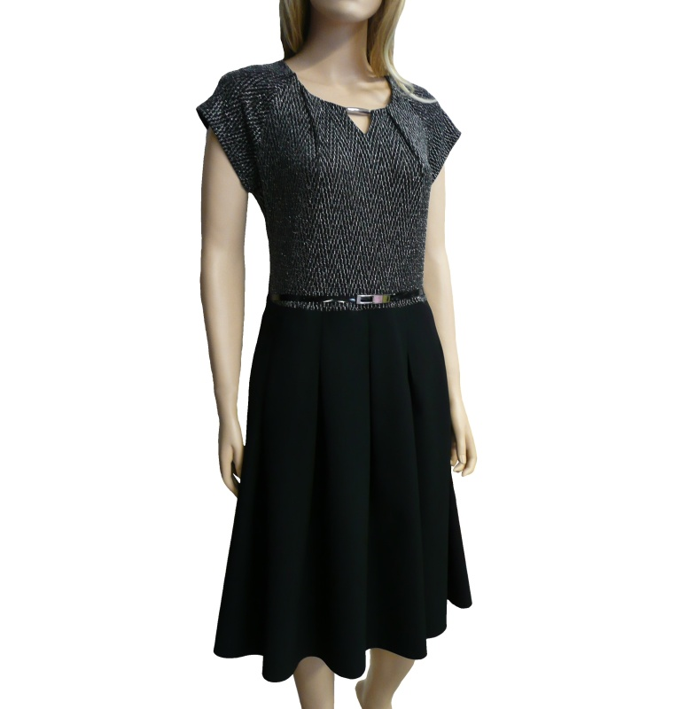 Dámské společenské šaty ke kolenům - černo-stříbrné - vel. 42