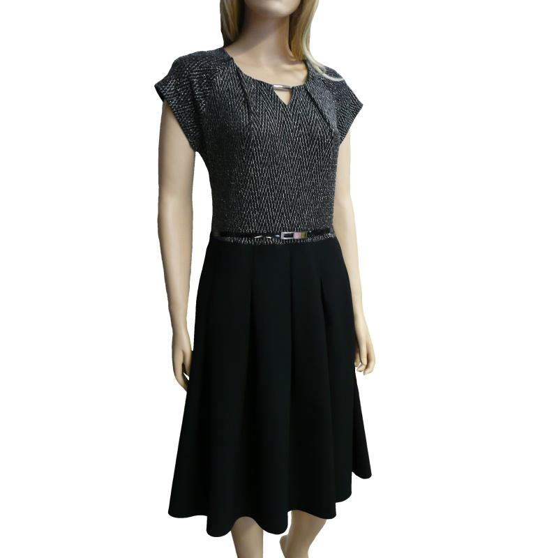 Dámské společenské šaty ke kolenům - černo-stříbrné - vel. 46