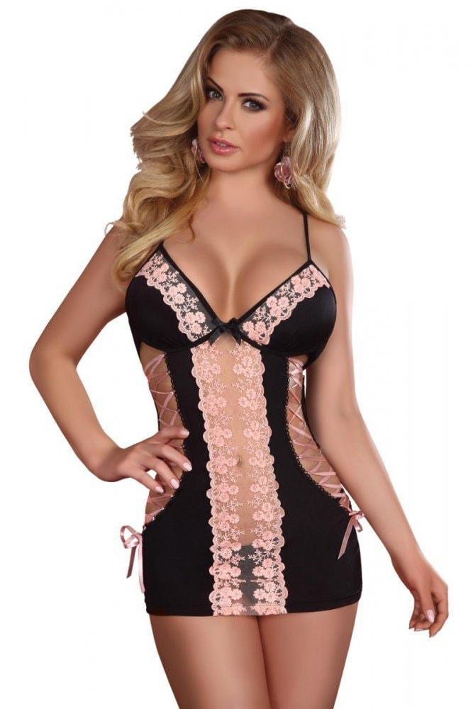 Erotická košilka a tanga EKT2256 - černo-růžová - vel. L/XL