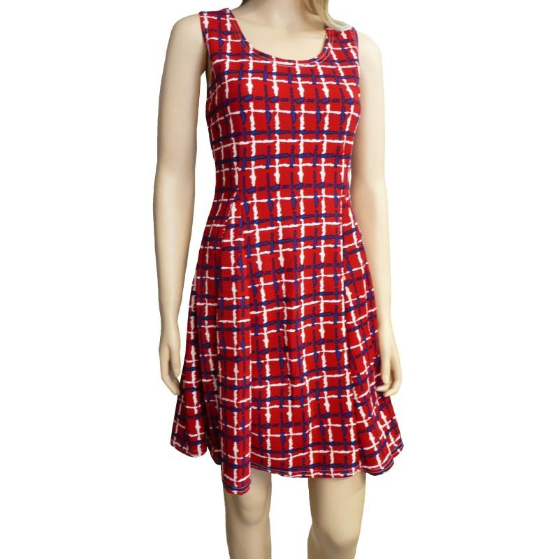 Dámské letní šaty s proužky - červené - vel. L/XL