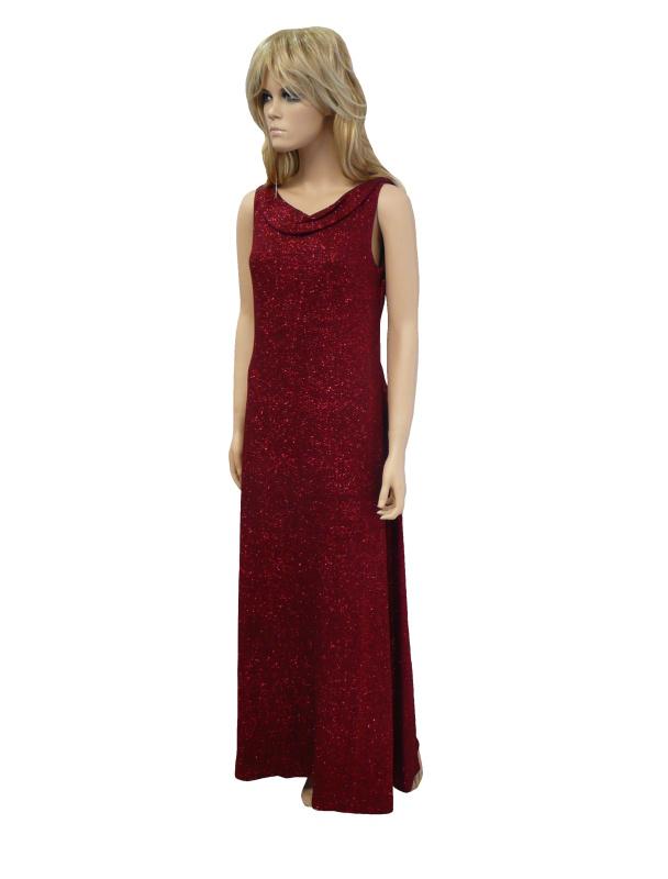 Dlouhé jednobarevné společenské šaty - červené - vel. UNI