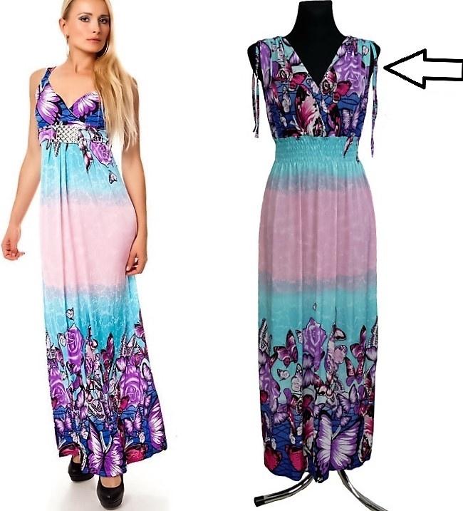 Dámské dlouhé letní šaty do V MEGAN 02 - vel. UNI