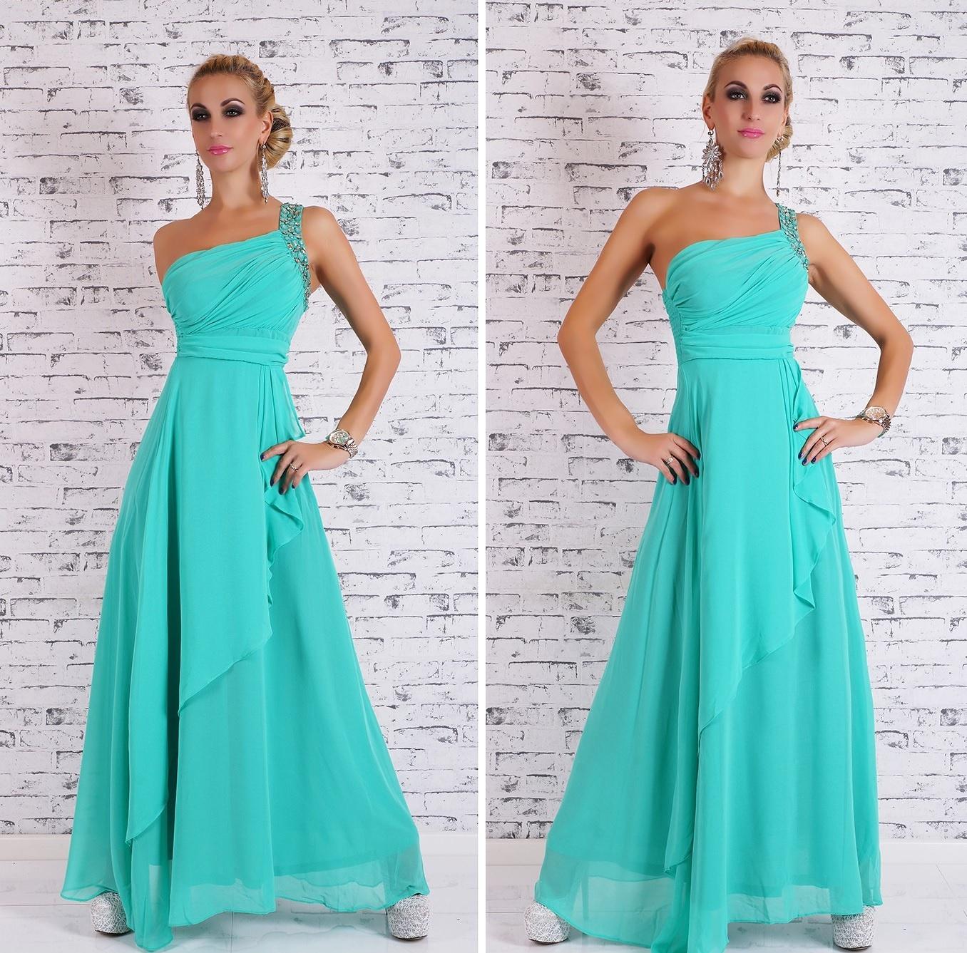 Dlouhé dámské společenské/plesové šaty - MINT - vel. S/M