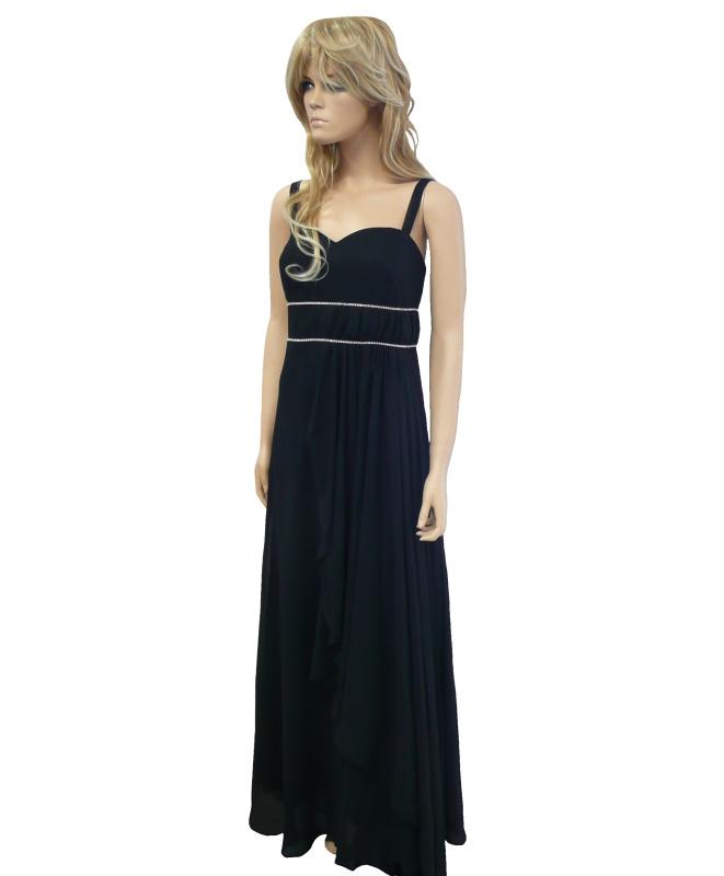 Černé dlouhé plesové šaty na ramínka - vel. 42  3edda8b4f9