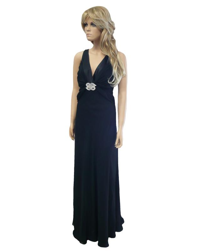 Černé dlouhé společenské šaty s broží - vel. 40