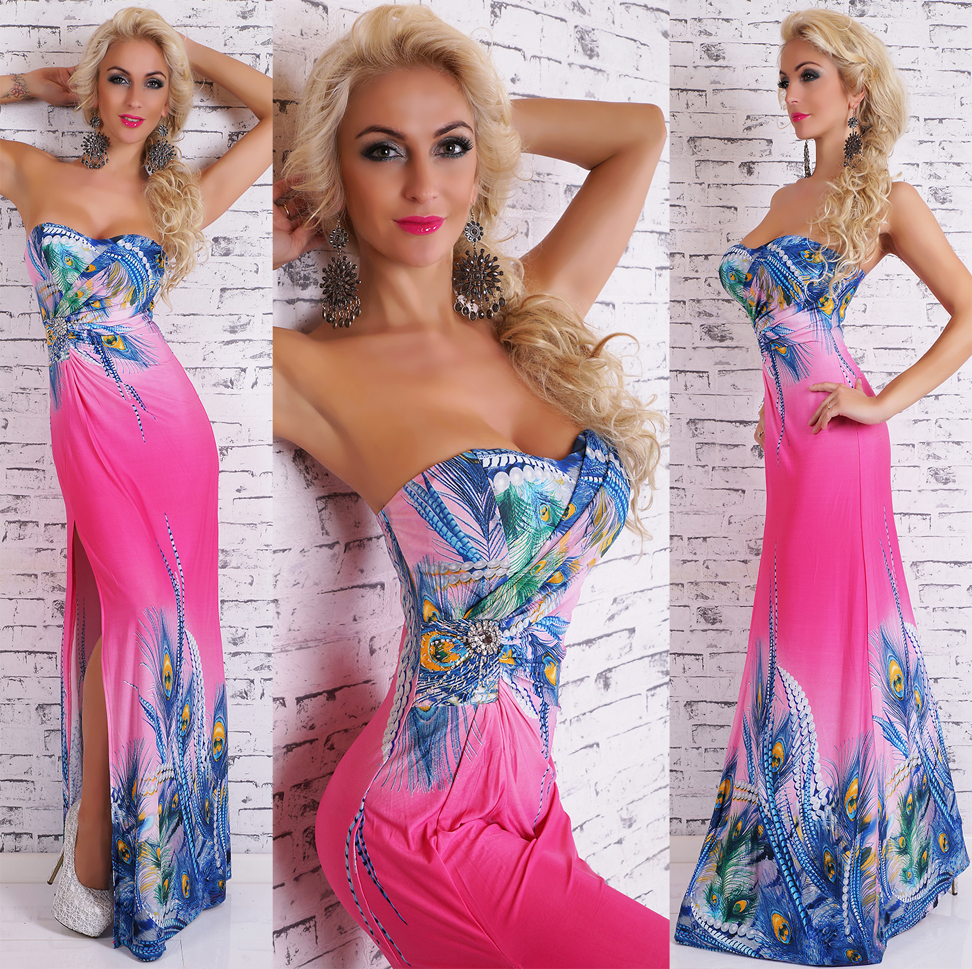 8f79357d6cf8 Dámské letní dlouhé šaty s pavím vzorem - růžové - vel. UNI