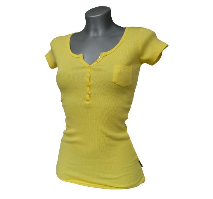 Dámské triko s krátkým rukávem a knoflíčky MADONNA - žluté - vel. XS