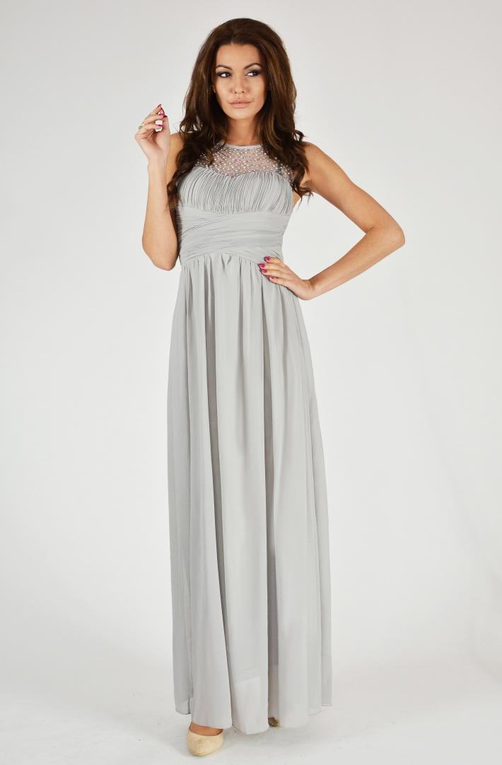 Dámské dlouhé plesové šaty u dekoltu s korálky - šedé - vel. S