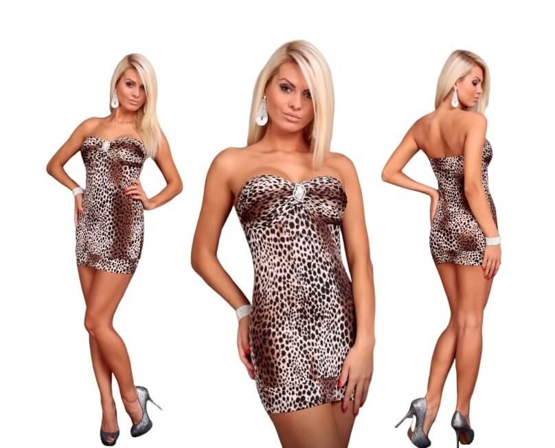 Sexy šaty s broží hnědý tygr - vel. UNI