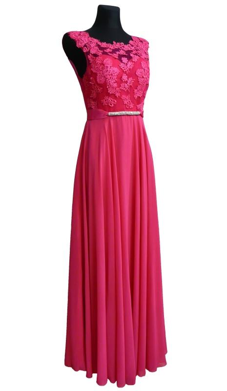 Dámské dlouhé společenské šaty - růžové - vel. S