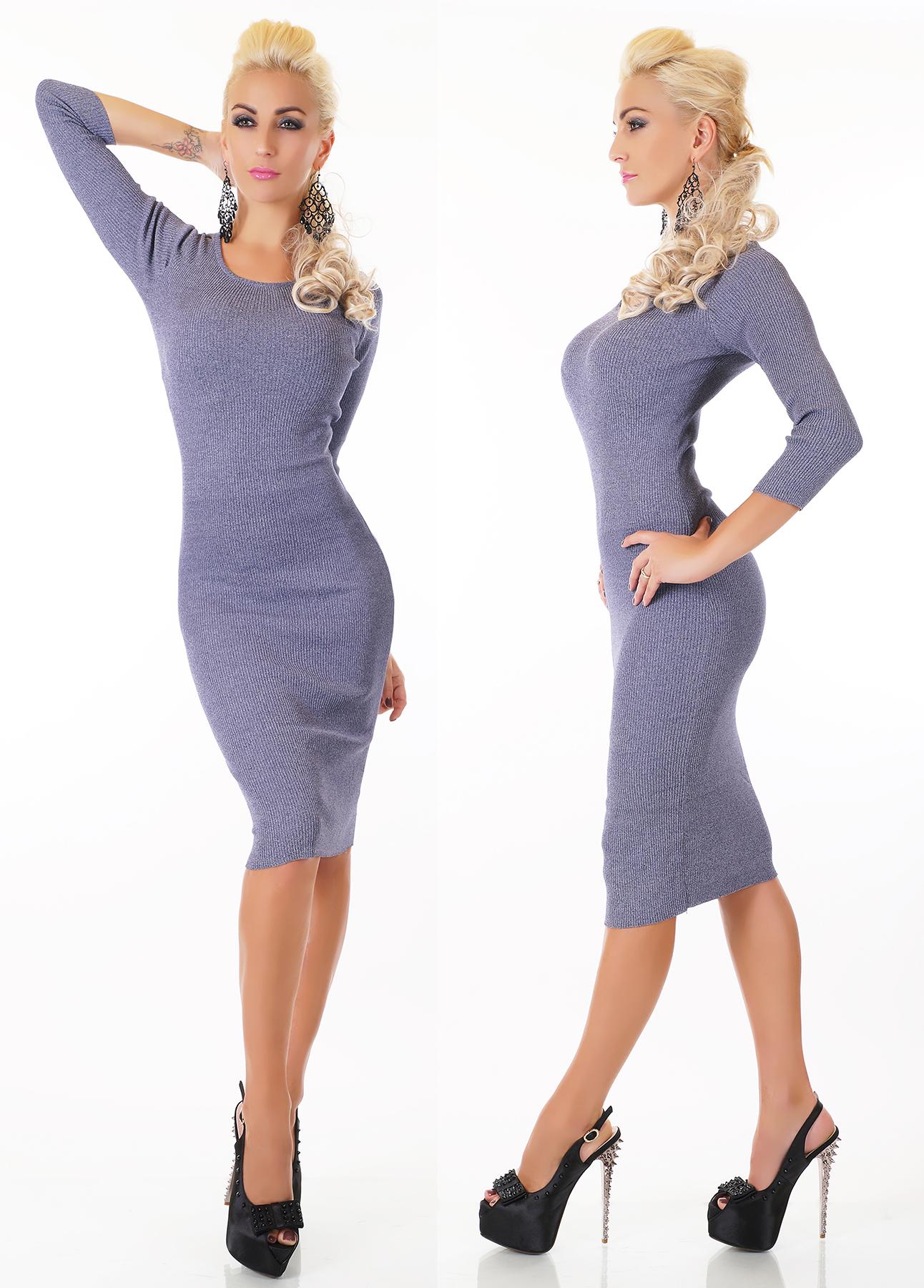 Dámské úpletové šaty pod kolena - světle modré - vel. UNI