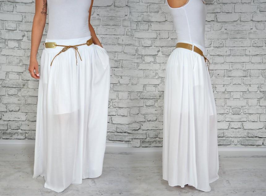 7e99945bef6d Letní dlouhá jednobarevná sukně - bílá - vel. UNI