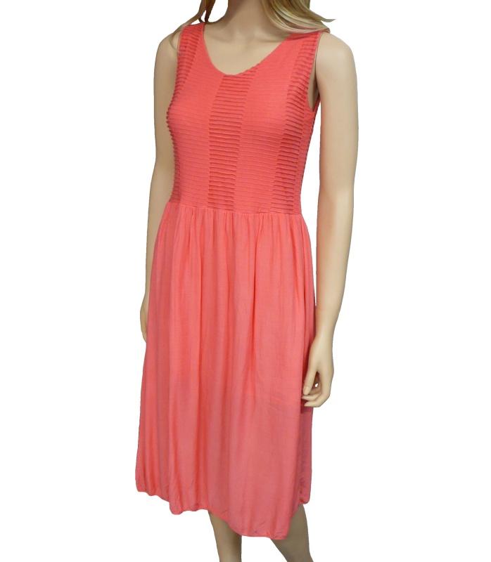 Dámské letní šaty pod kolena - lososové - vel. UNI