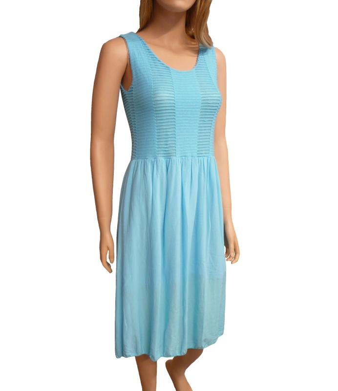 Dámské letní šaty pod kolena - tyrkys - vel. UNI