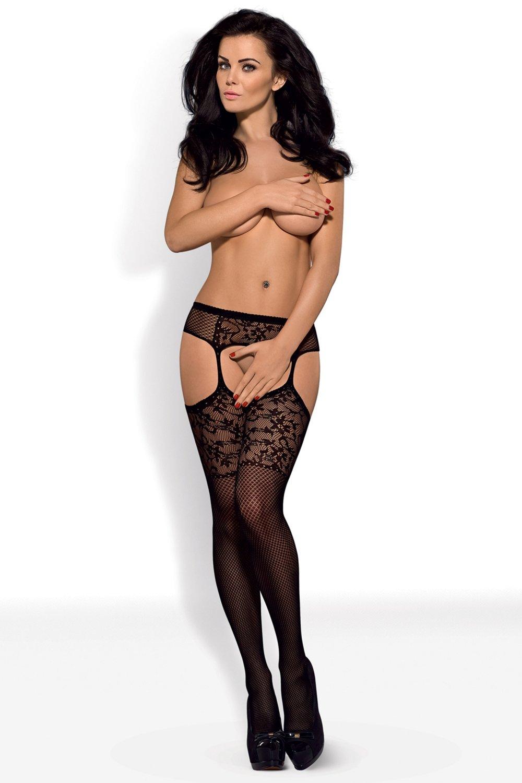 Erotické punčochy s podvazkovým pásem EPP1505 - černé - vel. S/M/L