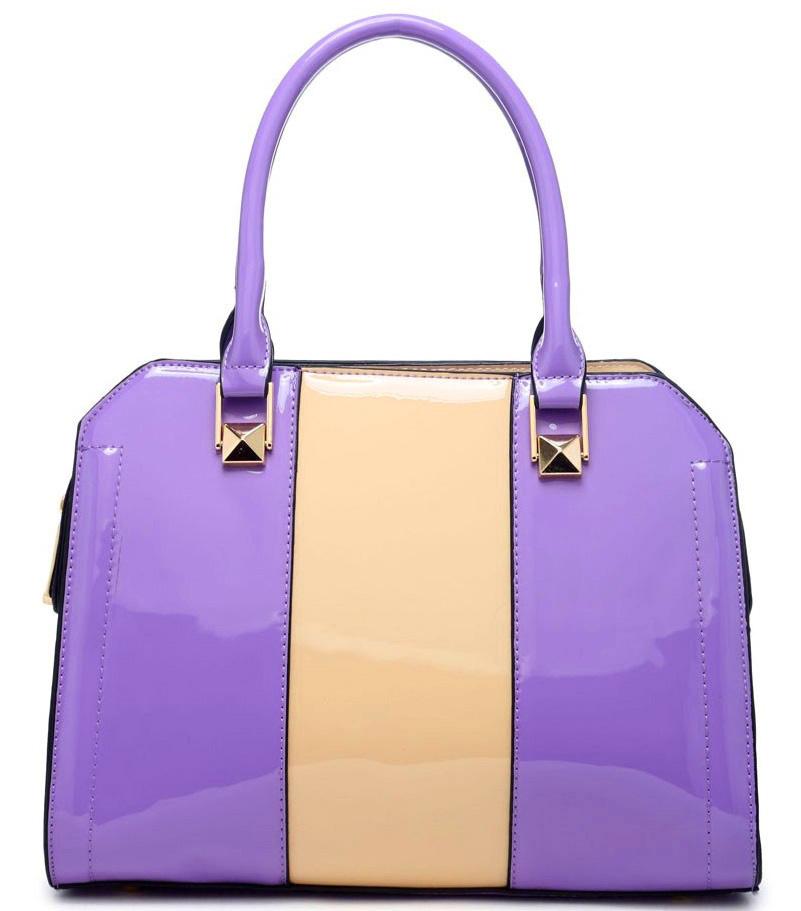 Lakovaná kabelka do ruky AD4752 - fialová s béžovým pruhem