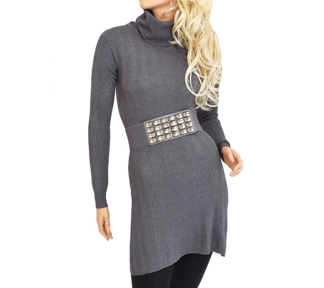 Dámské úpletové šaty nad kolena - tmavě šedé - vel. M/L