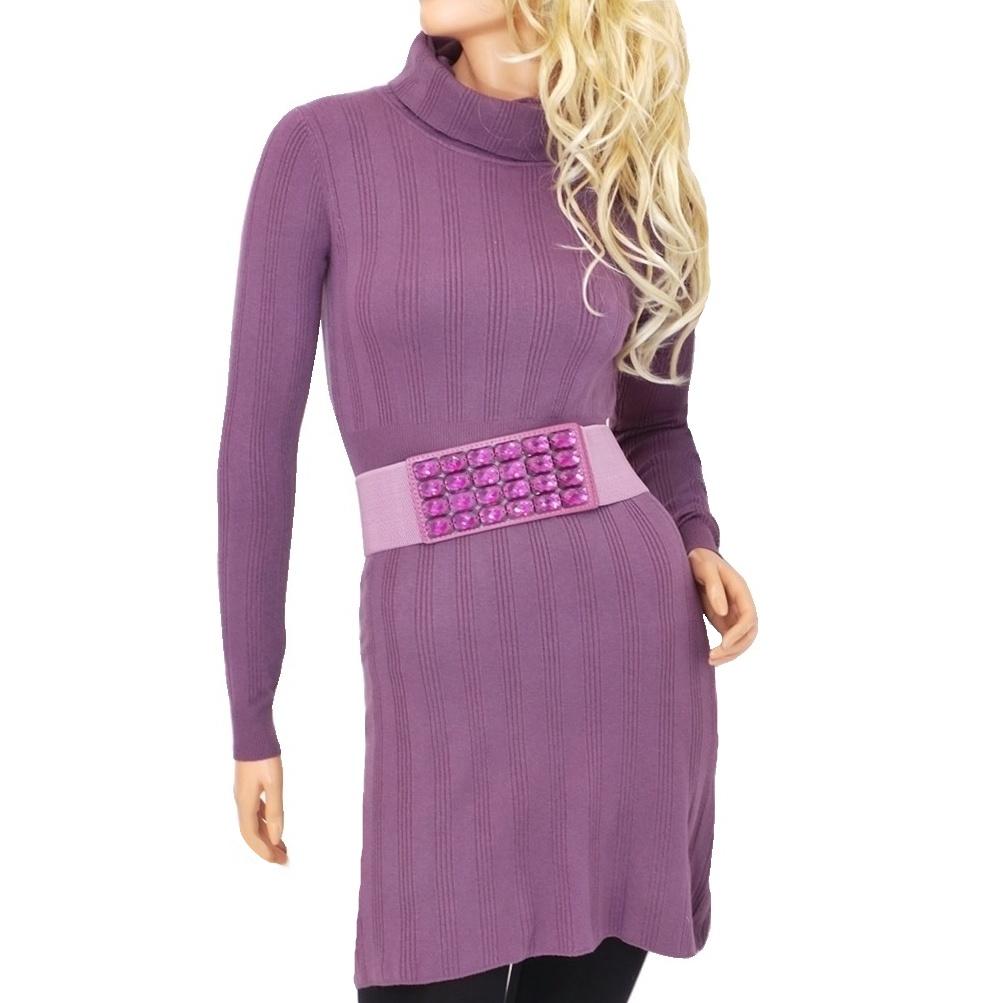 Dámské úpletové šaty nad kolena - vínové - vel. L/XL