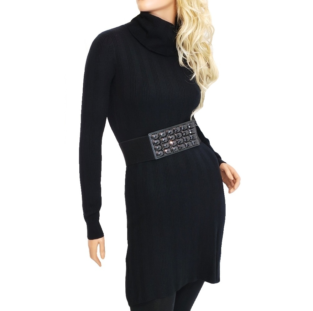Dámské úpletové šaty nad kolena - černé - vel. L/XL