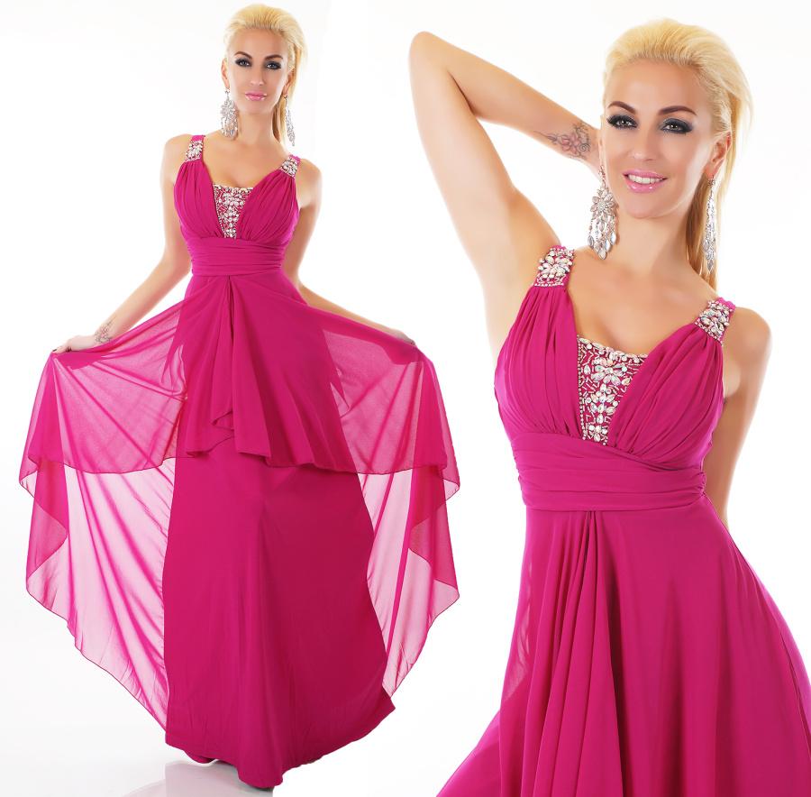 Luxusní dámské dlouhé plesové šaty - purpurové - vel. S/M