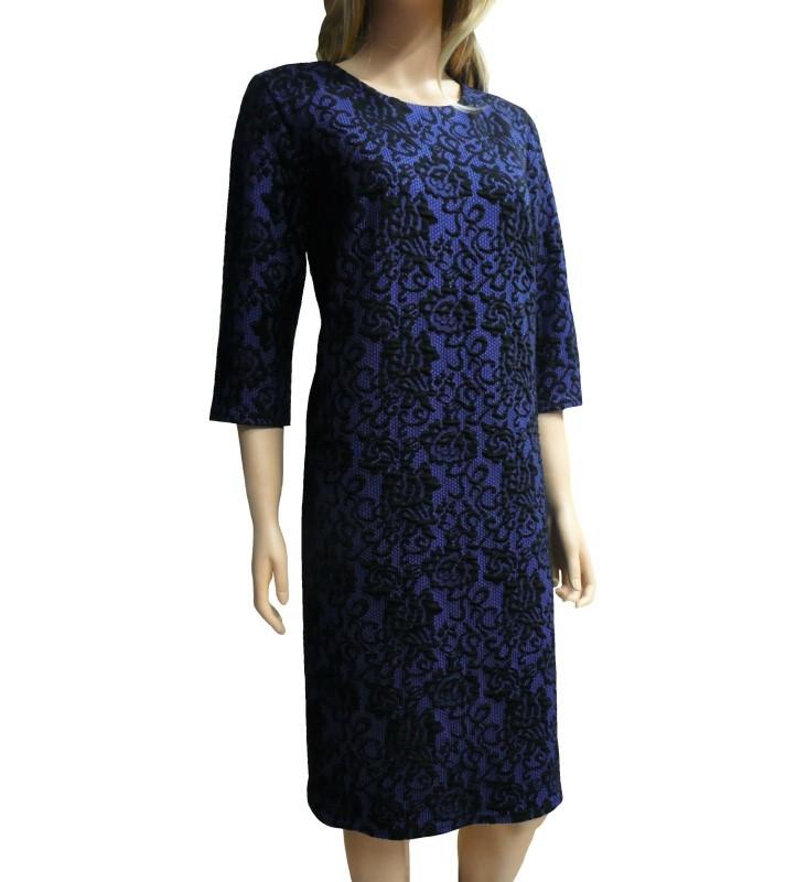 Dámské šaty ke kolenům kolekce jaro/podzim - modro-černé - vel. 44