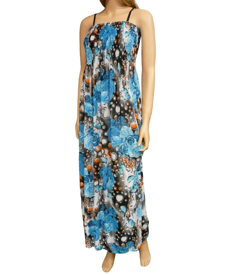 8db2a09e900b Dámské dlouhé letní šaty k moři - tyrkysové - vel. UNI