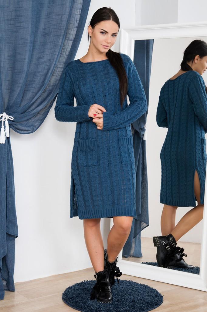 Dámské úpletové šaty s kapsami - modré - vel. UNI
