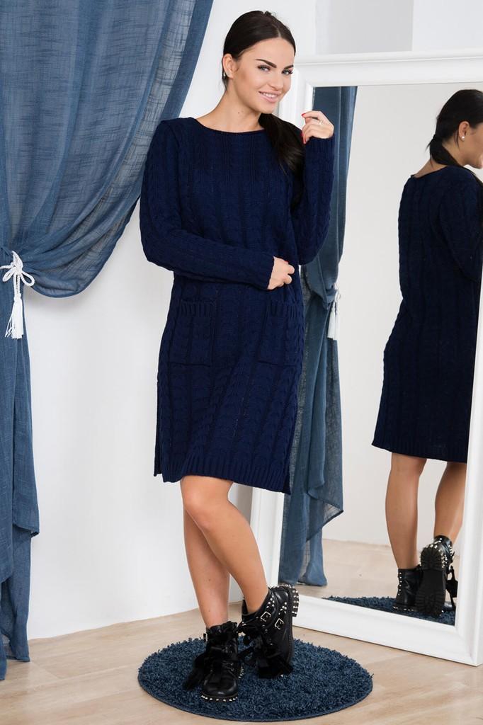 Dámské úpletové šaty s kapsami - tmavě modré - vel. UNI
