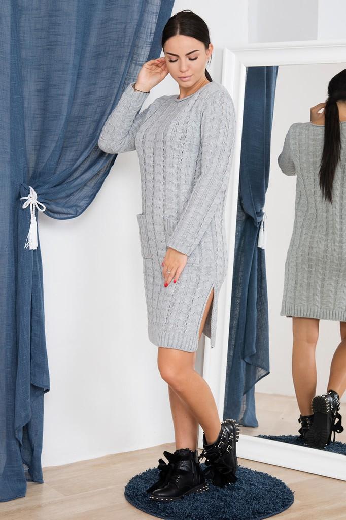 Dámské úpletové šaty s kapsami - světle šedé - vel. UNI