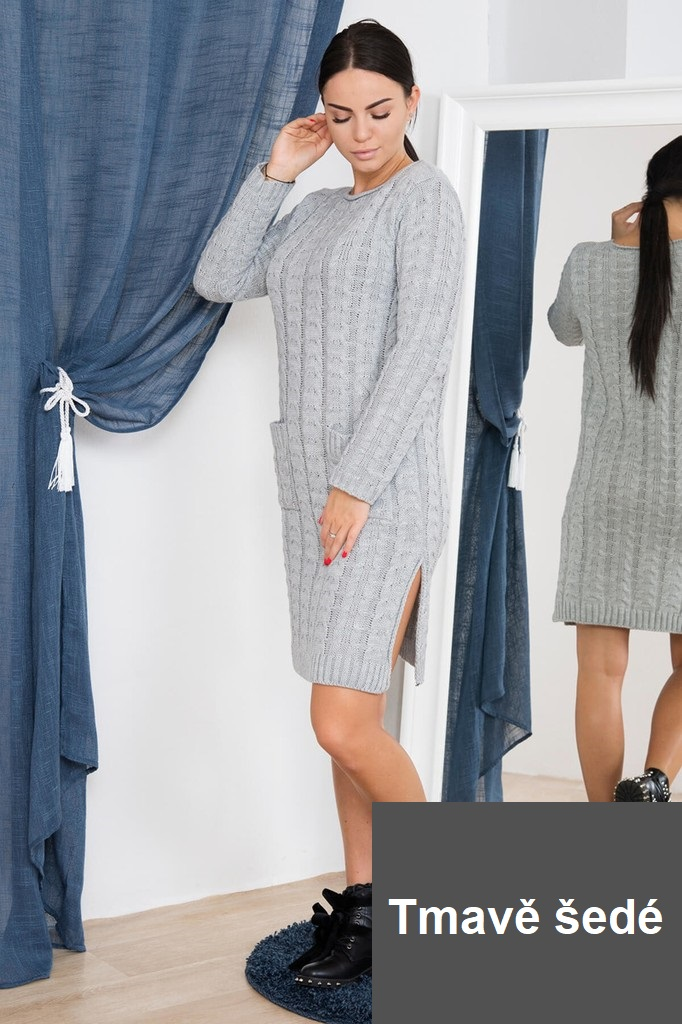 Dámské úpletové šaty s kapsami - tmavě šedé - vel. UNI
