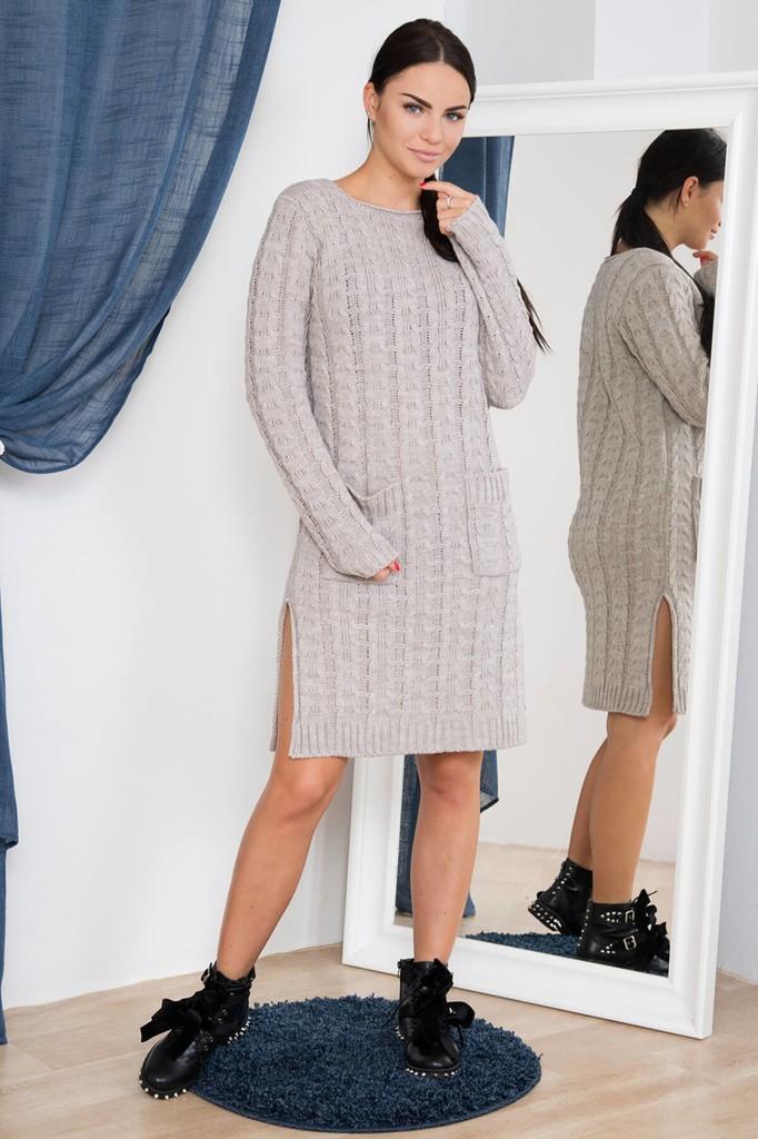 Dámské úpletové šaty s kapsami - cappuccinové - vel. UNI