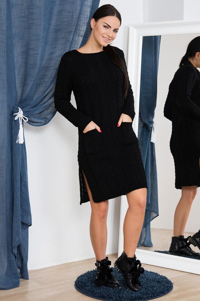 Dámské úpletové šaty s kapsami - černé - vel. UNI