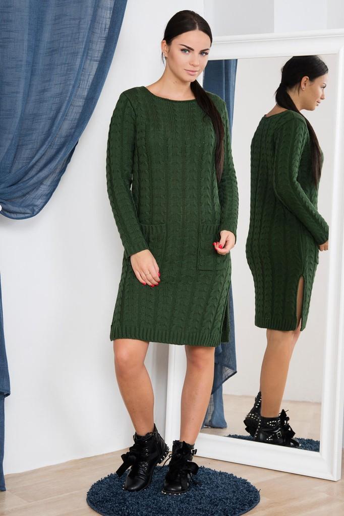 Dámské úpletové šaty s kapsami - zelené - vel. UNI 72eb236268