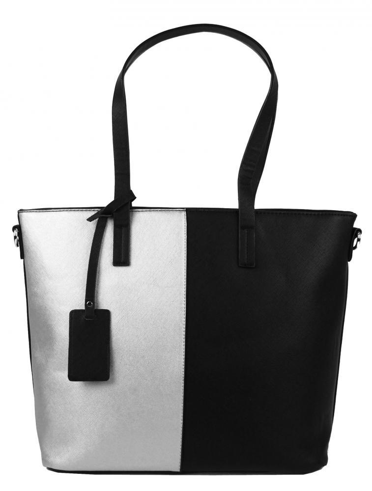 Elegantní dvoubarevná A4 kabelka AA0015 - černo-stříbrná