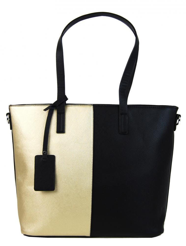 Elegantní dvoubarevná A4 kabelka AA0015 - černo-zlatá