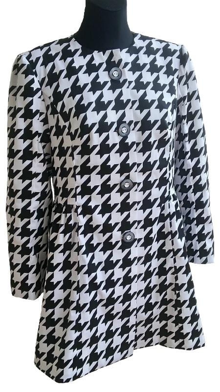 Elegantní dámský kabátek - RUČNÍ ČESKÁ VÝROBA - černo-bílý