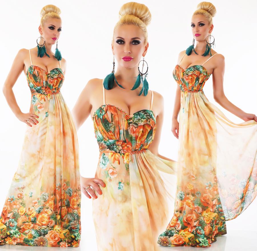 928f73ca31df Dámské letní dlouhé květinové šaty na ramínka - oranžové - vel. M L