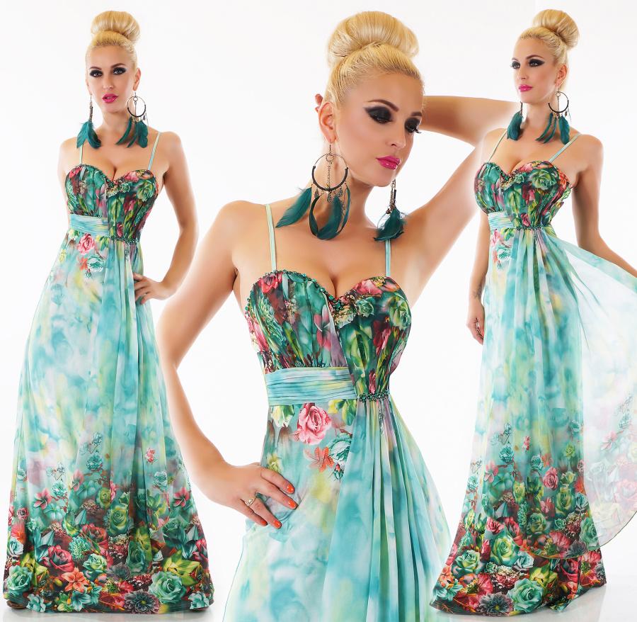5f61c7dcc2f7 Dámské letní dlouhé květinové šaty na ramínka - zelené - vel. M L