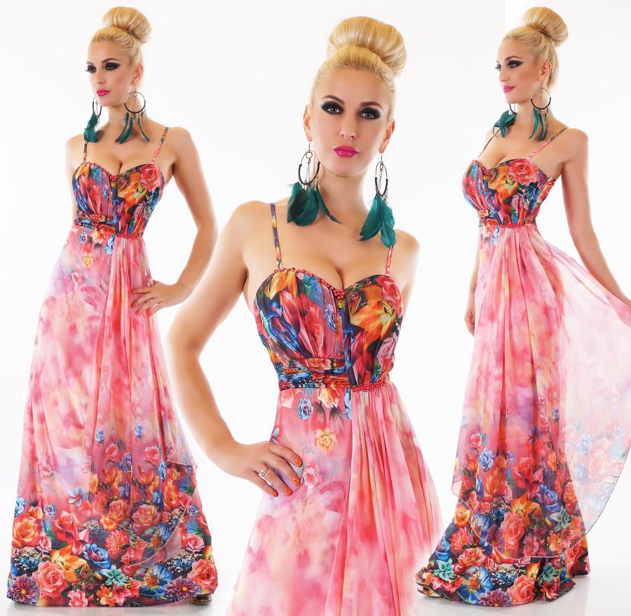 0694fbcce448 Dámské letní dlouhé květinové šaty na ramínka - růžové - vel. M L