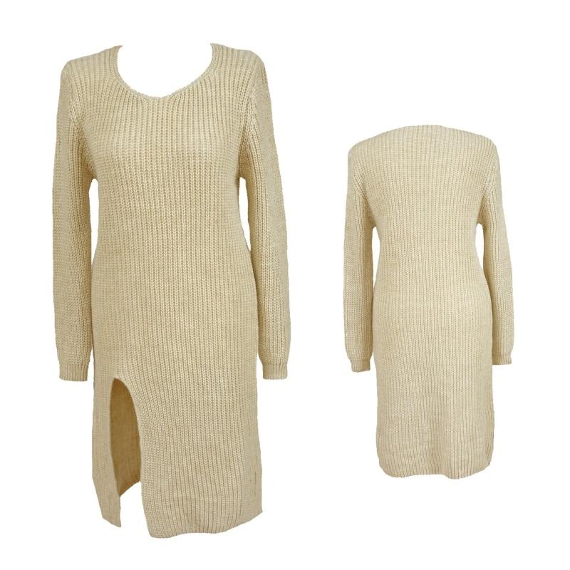 33cb5fd008db Dámský prodloužený svetr úpletové šaty s rozparkem - béžový - vel. UNI