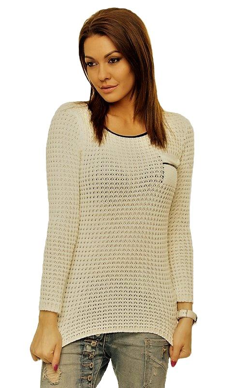 c9b3bbf82e22 Dámský svetr s kapsičkou - cappuccinový - vel. UNI