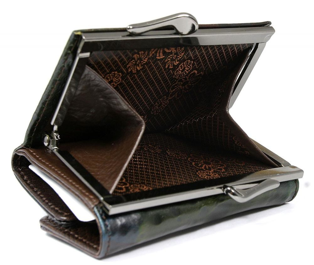 Dámská malá kožená peněženka ECA4377 - hnědo-zelená