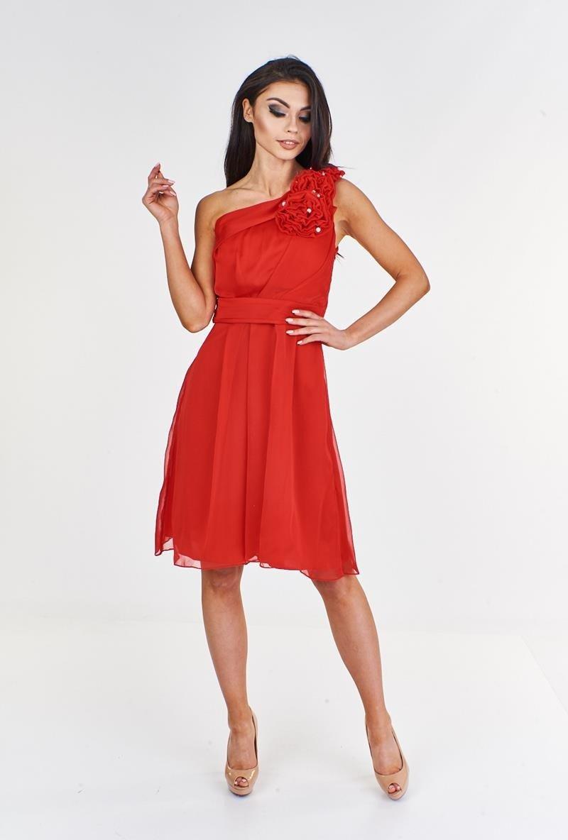 Dámské plesové společenské šaty na ramínko - červené - vel. 46 a525a2a979