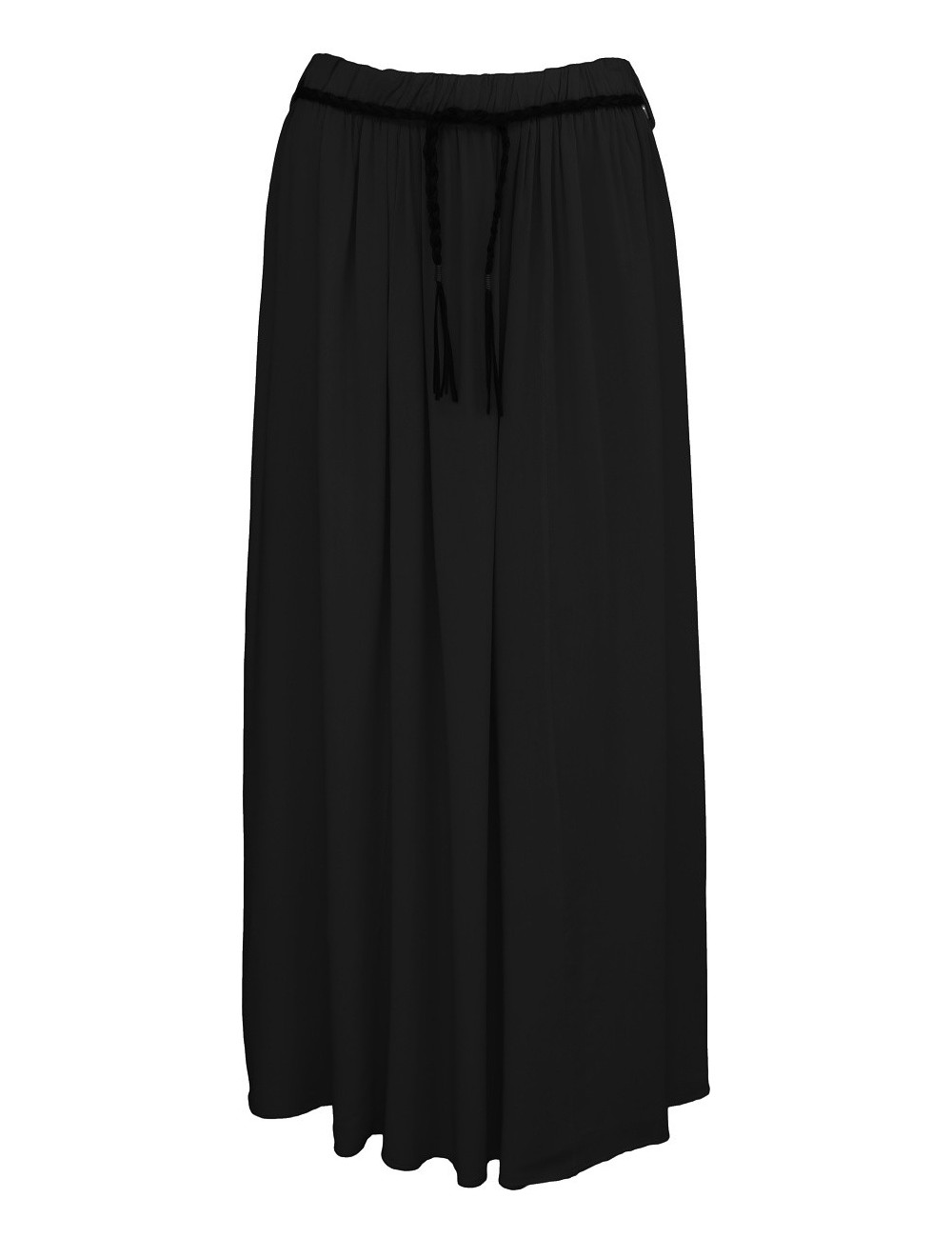 Letní jednobarevná dlouhá sukně - černá - vel. UNI