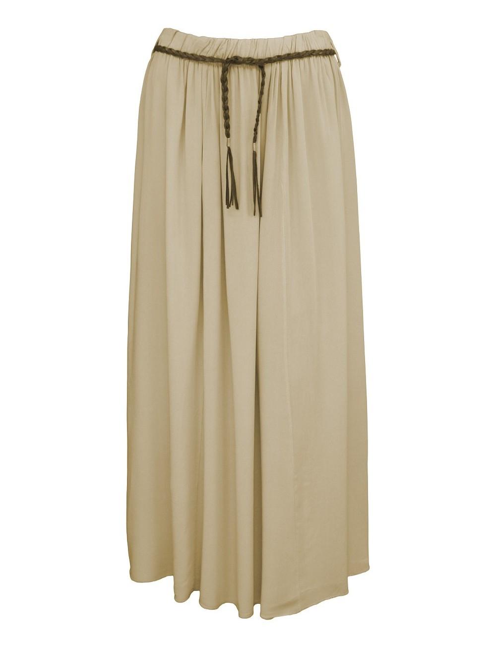 Letní jednobarevná dlouhá sukně - hnědá - vel. UNI