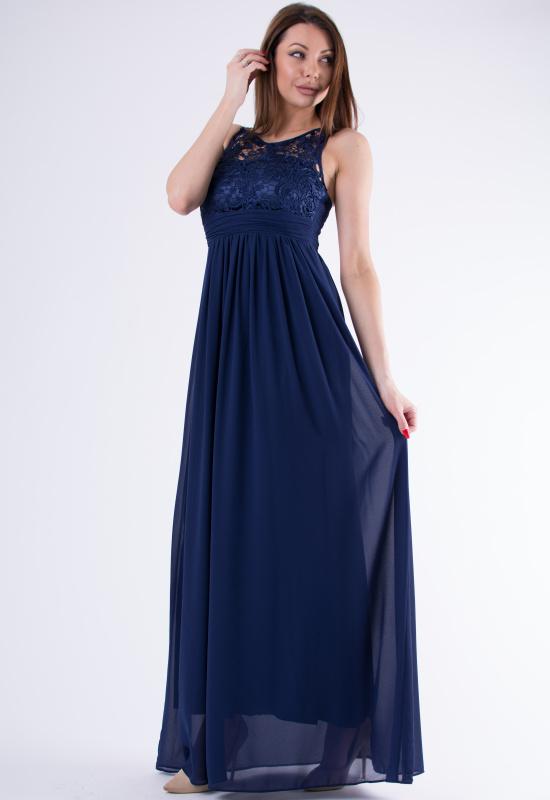 Dámské dlouhé plesové šaty u dekoltu s krajkou - tmavě modré - vel. M
