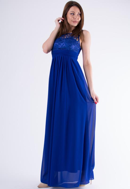 Dámské dlouhé plesové šaty u dekoltu s krajkou - modré - vel. L