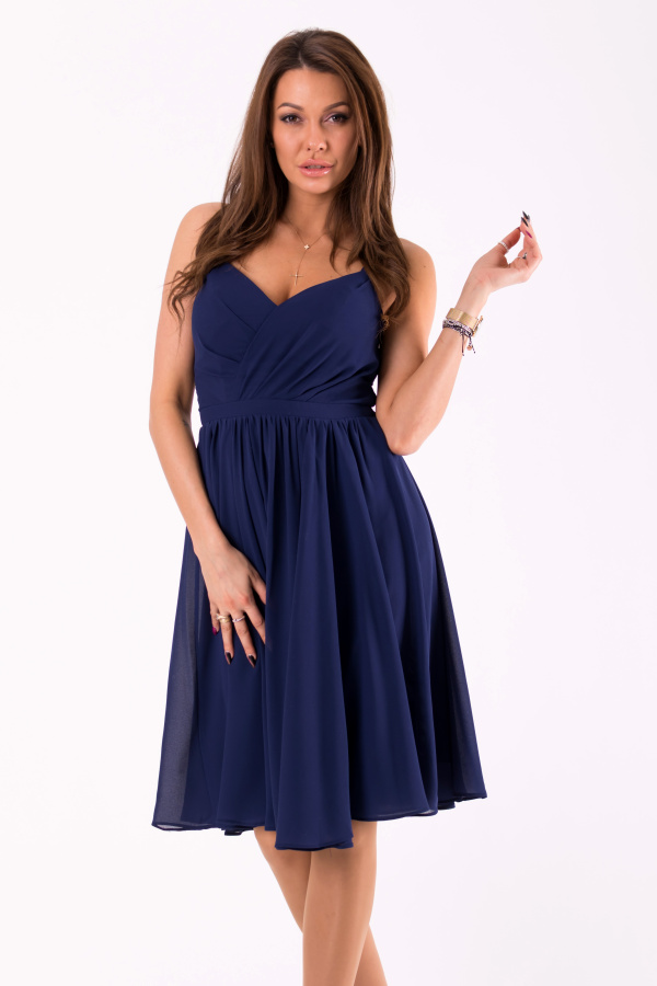 Dámské plesové/společenské šaty na úzká ramínka - tmavě modré - vel. L